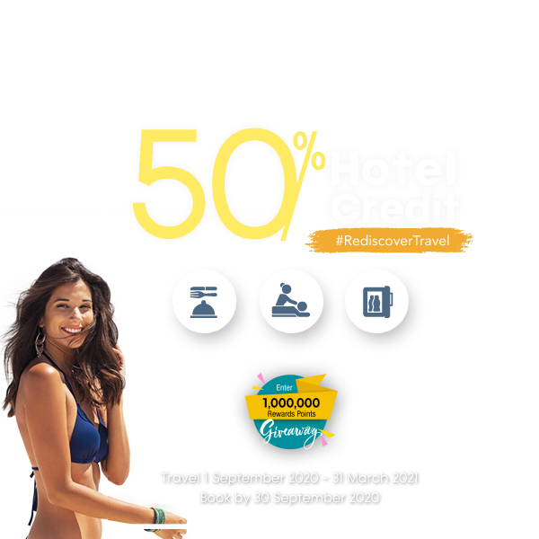 50% Back in Hotel Credit